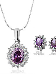 Arinna Fashion Jewelry Set Women 18k white Gold Plated Purple Rhinestone Necklace & Earrings Gift Set G1370#1