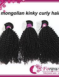 "3pcs/lot 12""-30"" Mongolian Virgin Kinky Curly Human Hair Extensions 1B Black Remy Human Hair Weave Mixed Lengths"