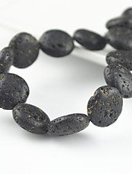 Toonykelly  Round Flat Lava Rock Volcano Stone Bead DIY Material  Beads 15Pc/Bag