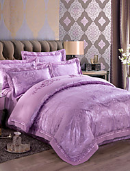 Pure Purple  Luxury Silk Cotton Blend Duvet Cover Sets Queen King Size Bedding Set