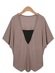 Xia.me Women's New European Fake 2 pieces Solid Color Loose V-neck Large Yard Top