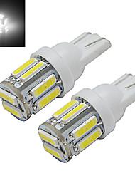 Jiawen® 2pcs t10 1w 10x7020smd 100-150lm 6000-6500k cool white led voiture lumière dc 12v