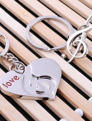 Alloy Silver Plated Heart Music Keychain Key Ring for Lover Valentine's Day(One Pair)