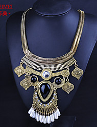2015 European and American fashion snake bone pendant chain necklace Ms. exaggerated black stones inlaid