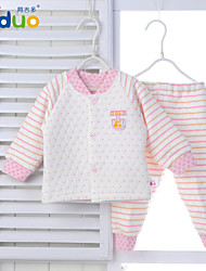 Ajiduo Unisex Newborn Baby Boy Girl Cute Pure Cotton Striped Tops Pants Bodysuits