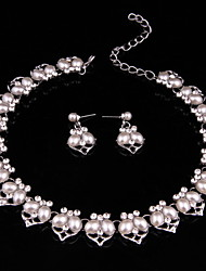 Vintage Women Party Alloy Sliver Plated Imitation Pearl Jewelry Sets