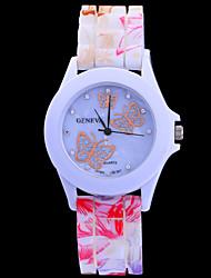 femenino sílice moda color del gel de diamantes mariposa cinta de silicio circular movimiento chino relojes (colores surtidos)