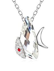 Little Flying Fish Short Necklace Plated with 18K True Platinum Crystal Clear Crystallized Austrian Crystal Stones