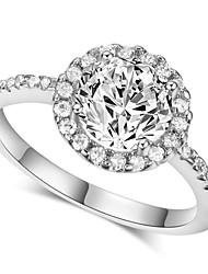T&C Women's 18K Silver Colour Hearts & Arrows Ideal Cut Swiss Cubic Zirconia Diamond Halo Engagement Ring