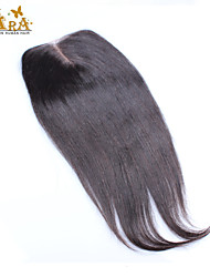 "10""-20"" Brazilian Virgin Hair Yaki Straight Lace top Closure Color Natural Black Baby Hair for Black Women"