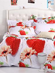 Mingjie morango vermelho conjuntos de cama 6d 4pcs queen size e roupa de cama de tamanho completo china conjuntos de cobertura Duvert
