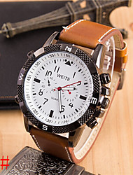 Geneve Men's Leather band Analog Quartz Casual Watch(Assorted Colors)