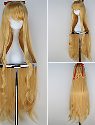 Absolute Duo Ririsu·Burisutoru Girl's Extra Long Wavy Golden Yellow Color Anime Cosplay Wig with Red Bowknot