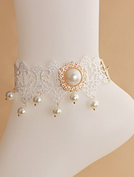 Gold-plated Female Pearl White Lace Anklets