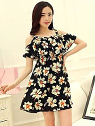 Women's Casual Micro Elastic Short Sleeve Mini Dress