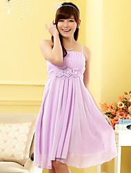 Knee-length Chiffon Bridesmaid Dress - Lavender/Champagne/Black A-line Spaghetti Straps
