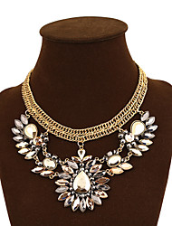 Women's Color Crystal Flower Gemstone  Necklace