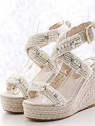 Women's Shoes Linen Wedge Heel Peep Toe Sandals with Rhinestone More Colors available