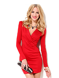 Women's V-Neck Dresses , Silk Sexy/Bodycon Long Sleeve MZW