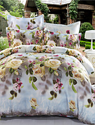 Mingjie White Yellow Flowers Blue 3D Bedding Sets Queen Size Bed Linen China Duvert Cover Sets