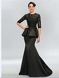 Trumpet/Mermaid Mother of the Bride Dress - Black Sweep/Brush Train Half Sleeve Satin/Lace