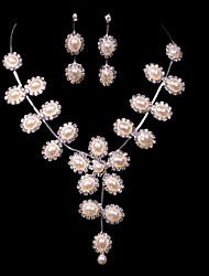 Alloy Wedding/Party Jewelry Set With Imitation Pearl/Rhinestone