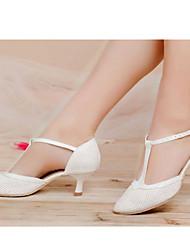 Chaussures de danse(Noir Rose Blanc) -Non Personnalisables-Talon Bottier-Cuir-Moderne