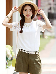 Women's Solid White/Yellow Blouse , Crew Neck Short Sleeve