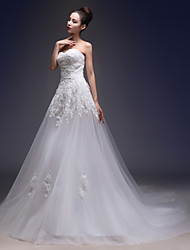 A-line Wedding Dress Chapel Train Sweetheart Lace / Tulle with Appliques