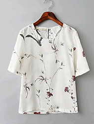 Women's Chinese Style Casual/Print Inelastic Short Sleeve Regular Top T-shirt (Chiffon)