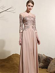 Formal Evening Dress - Champagne Plus Sizes Sheath/Column Scoop Floor-length Satin Chiffon