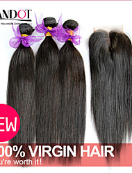 3 Bundles Peruvian Virgin Hair Straight With Closure Unprocessed Human Hair Weaves And Lace Closures Free/Middle/3 Part