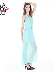 haoduoyi® Women's Button Fly V-neck Chiffon Dress