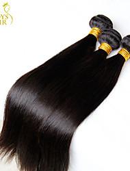 "3 Pcs Lot 8""-30"" Mongolian Straight Virgin Hair Wefts Natural Black 1B# Cheap Remy Human Hair Weave Bundles Tangle Free"