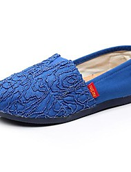 Women's Shoes Canvas Spring / Fall Round Toe Casual Flat Heel Slip-on / Ruffles Blue / Pink