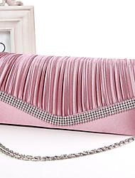 Women Satin Minaudiere Clutch / Evening Bag - White / Pink / Blue / Gold / Black