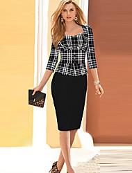 Vestito Da donna Fodero Da ufficio A quadri Medio A cuore Cotone