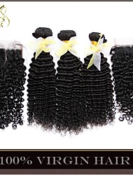 4Pcs Lot Malaysian Kinky Curly Virgin Hair With Closure 3 Bundles Unprocessed Remy Human Hair Wefts With Lace Closures