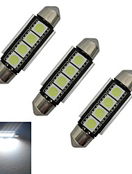 JIAWEN® 3pcs Festoon 42mm 1.5W 4x5050SMD 80-90LM 6000-6500K Cool White Light LED Car Light (DC 12V)