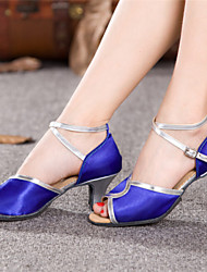 Women's Dance Shoes Latin Satin Chunky Heel Blue/Red