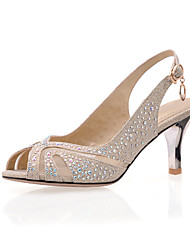 Women's Shoes Suede Stiletto Heel Peep Toe Sandals Shoes with Sparkling Glitter Dress More Colors available