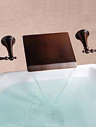 Antique Montage mural Cascade with  Valve en laiton Deux poignées trois trous for  Bronze huilé , Robinet lavabo