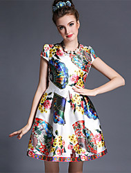 Summer 2015 Women's Vintage Fashion Print Flower Europe Brand Style Party Short Sleeve Short Princess Dress