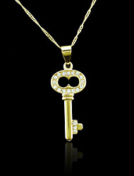 18K Real Gold Plated Zircon Key Pendant Necklace