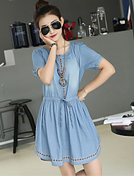 Women's Casual/Party/Work Short Sleeve Dresses (Denim)