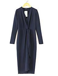 Women's Europe Sexy V-Neck Navy Blue Long Design Full Sleeve Dress