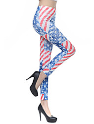 Women USA Flag Polyester Medium Print Legging