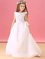21KIDS A-line Floor-length Flower Girl Dress - Organza Satin Bateau with Lace Sash / Ribbon Pleats