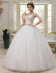 Ball Gown Sweep/Brush Train Wedding Dress -One Shoulder Tulle