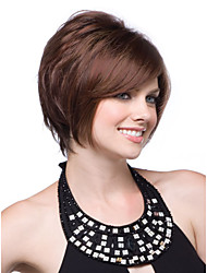 New Pretty Capless Short Wavy Mono Top Human Hair Wigs with Side Bang